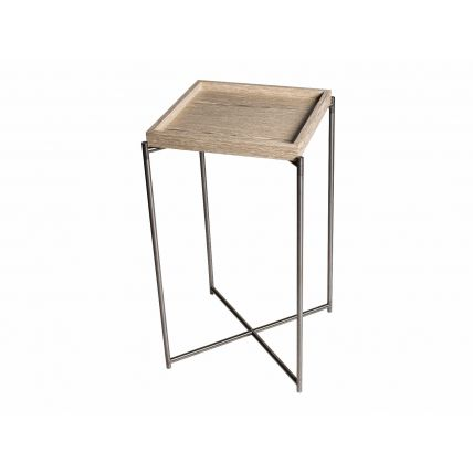 Square plant stand WEATHERED OAK TRAY with GUN METAL FRAME by Gillmore Space