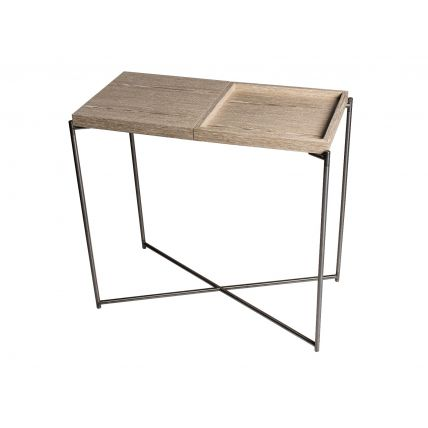 Small Console table WEATHERED OAK TOP & TRAY with GUN METAL FRAME  by Gillmore Space