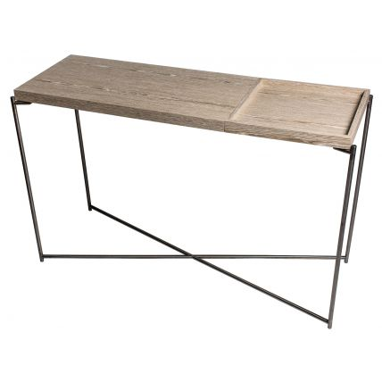 Large Console table WEATHERED OAK TOP & SMALL TRAY with GUN METAL FRAME  by Gillmore Space