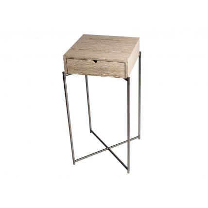 Square plant stand WEATHERED OAK DRAWER TOP with GUN METAL FRAME by Gillmore Space