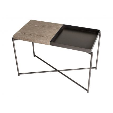 Rectangle top side table WEATHERED OAK & GUNMETAL TRAY with GUN METAL FRAME  by Gillmore Space