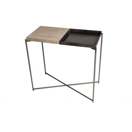 Small Console table WEATHERED OAK TOP &  GUN METAL TRAY with GUN METAL FRAME  by Gillmore Space