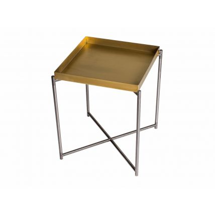 Square tray top side table BRASS top with GUN METAL FRAME  by Gillmore Space