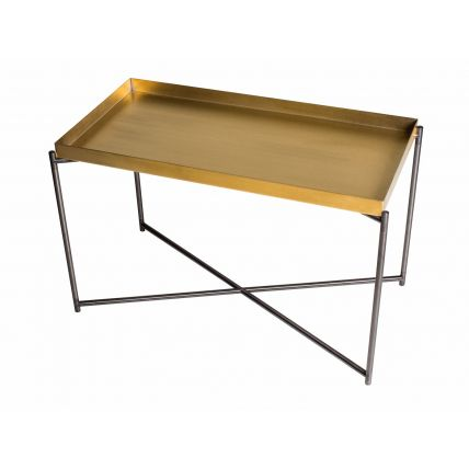 Rectangle tray top side table BRASS top with GUN METAL FRAME by Gillmore Space