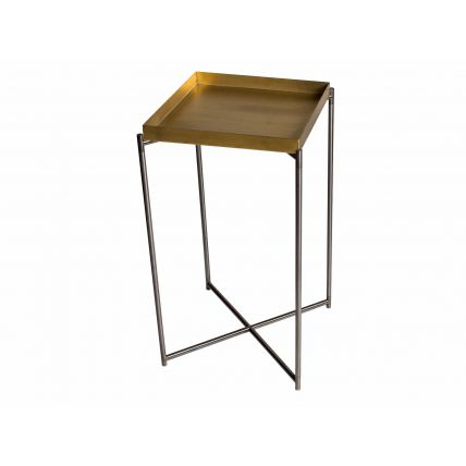 Square plant stand BRASS TRAY with GUN METAL FRAME by Gillmore Space