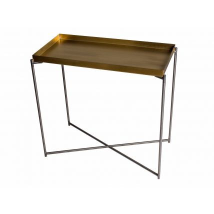 Small Console table tray top BRASS with GUN METAL FRAME  by Gillmore Space