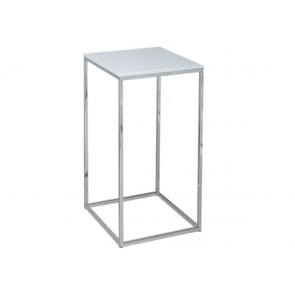 Square Lamp Stand - Kensal WHITE with POLISHED base by Gillmore Space