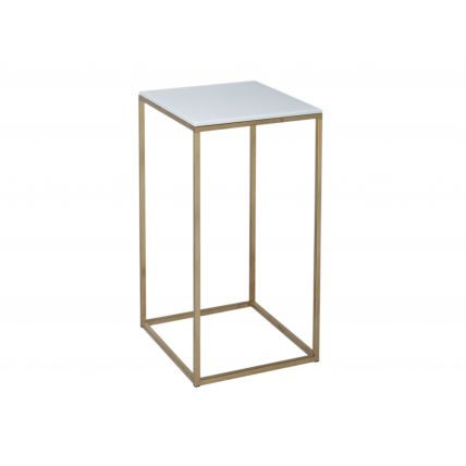 Square Lamp Stand - Kensal WHITE with BRASS base by Gillmore Space