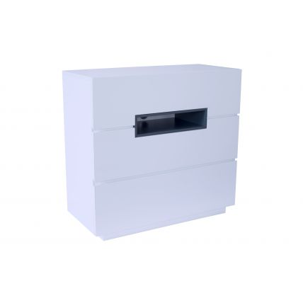 Three drawer chest - Savoye WHITE with GRAPHITE accent by Gillmore Space
