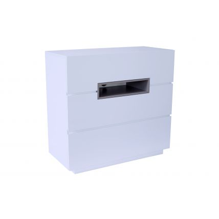 Three drawer chest - Savoye WHITE with STONE  accent by Gillmore Space