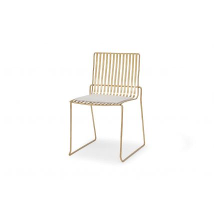 Brass Stacking Dining Chair with Natural / Beige Colour Seat Pad - Finn by Gillmore © GillmoreSPACE Ltd