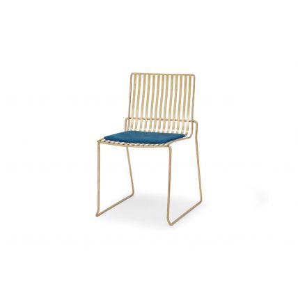 Brass Stacking Dining Chair with Blue Seat Pad - Finn by Gillmore © GillmoreSPACE Ltd