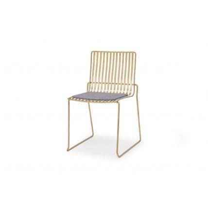 Brass Stacking Dining Chair with Pewter Grewy Seat Pad - Finn by Gillmore © GillmoreSPACE Ltd