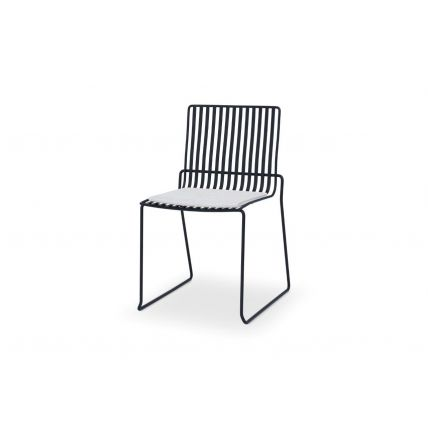 Matt Black Stacking Dining Chair with Silver Seat Pad - Finn by Gillmore © GillmoreSPACE Ltd