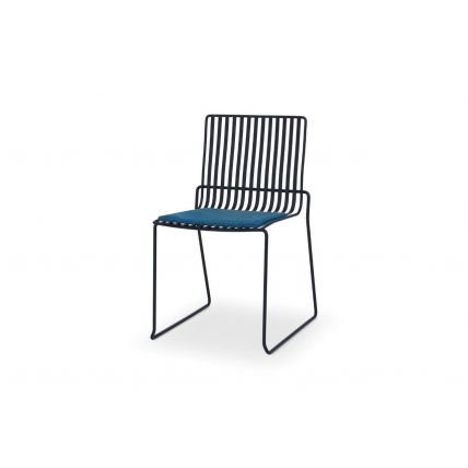 Matt Black Stacking Dining Chair with Blue Seat Pad - Finn by Gillmore © GillmoreSPACE Ltd