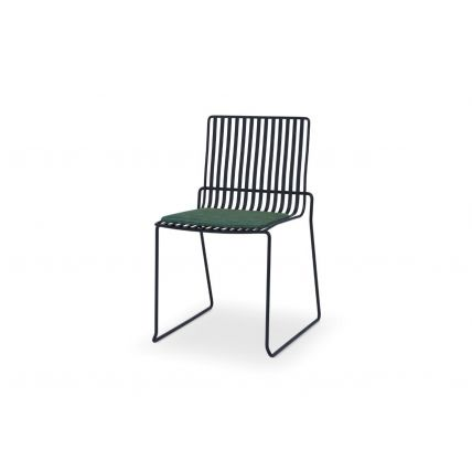 Matt Black Stacking Dining Chair with Green Seat Pad - Finn by Gillmore © GillmoreSPACE Ltd