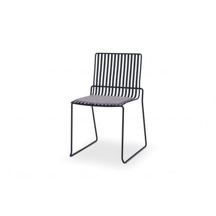 Matt Black Stacking Dining Chair with Pewter Grey Seat Pad - Finn by Gillmore © GillmoreSPACE Ltd