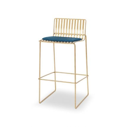Brass Bar Stool with Blue Seat Pad - Finn by Gillmore © GillmoreSPACE Ltd