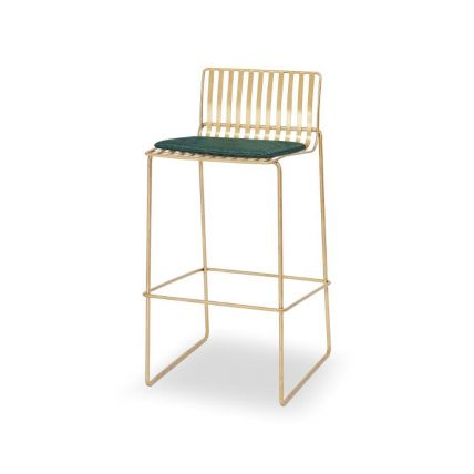 Brass Bar Stool with Green Seat Pad - Finn by Gillmore © GillmoreSPACE Ltd