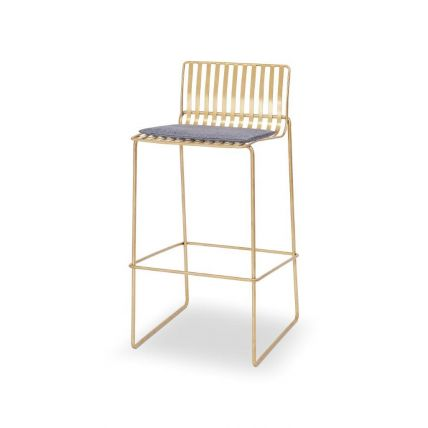 Brass Bar Stool with Pewter Grey Seat Pad - Finn by Gillmore © GillmoreSPACE Ltd