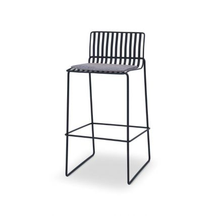 Matt Black Bar Stool with Pewter Grey Seat Pad - Finn by Gillmore © GillmoreSPACE Ltd