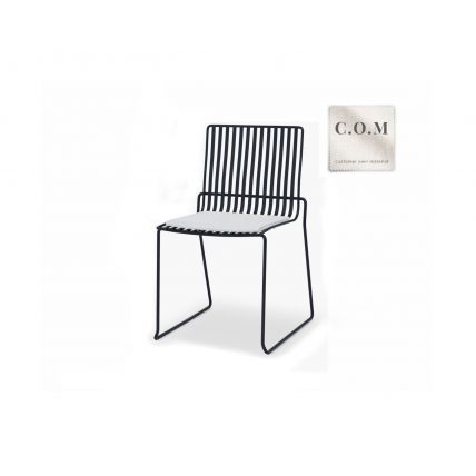 Matt Black Bar Stool with Custom Upholstered Seat Pad - Finn by Gillmore © GillmoreSPACE Ltd