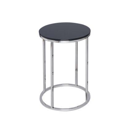 Circular Side Table - Kensal BLACK with POLISHED base