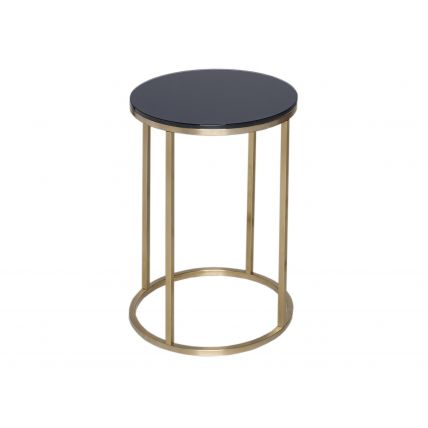 Circular Side Table - Kensal BLACK with BRASS base