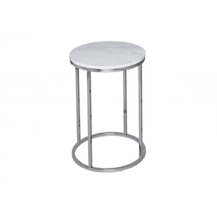 Circular Side Table - Kensal MARBLE with POLISHED base