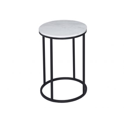 Circular Side Table - Kensal MARBLE with BLACK base