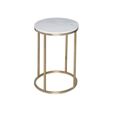 Circular Side Table - Kensal MARBLE with BRASS base