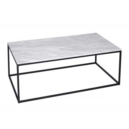 Rectangular Coffee Table - Kensal MARBLE with BLACK base