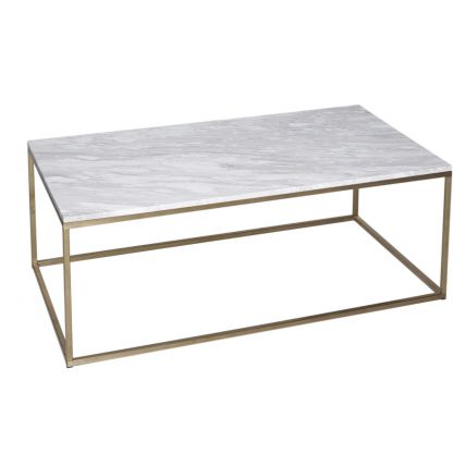 Rectangular Coffee Table - Kensal MARBLE with BRASS base