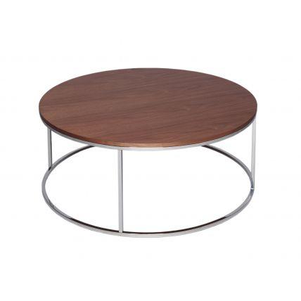 Circular Coffee Table - Kensal WALNUT with POLISHED steel base