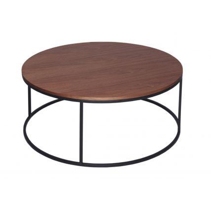 Circular Coffee Table - Kensal WALNUT with BLACK base
