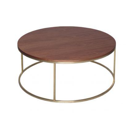 Circular Coffee Table - Kensal WALNUT with BRASS base