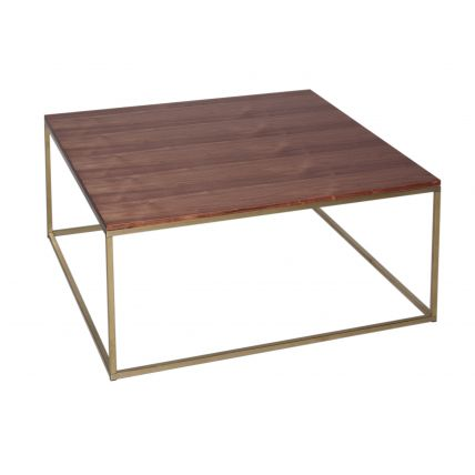 Square Coffee Table - Kensal WALNUT with BRASS base