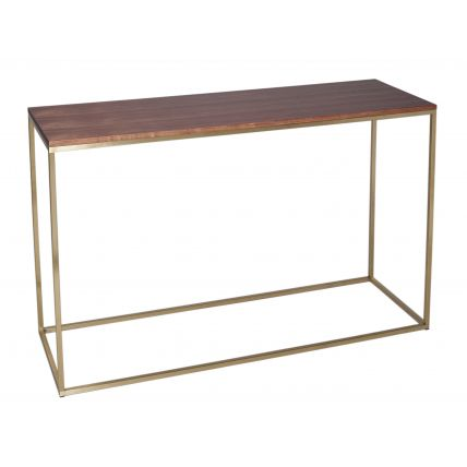 Console Table - Kensal WALNUT with BRASS base