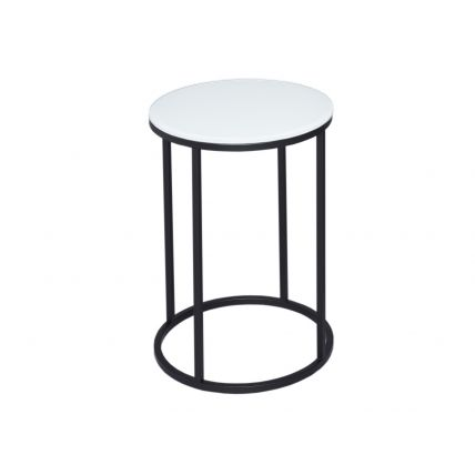 Circular Side Table - Kensal WHITE with BLACK base