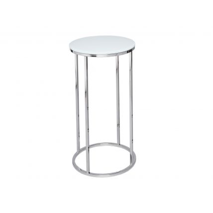 Circular Lamp Stand - Kensal WHITE with POLISHED base