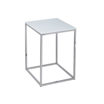 Square Side Table - Kensal WHITE with POLISHED base