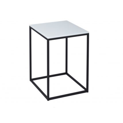 Square Side Table - Kensal WHITE with BLACK base