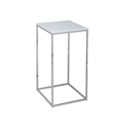 Square Lamp Stand - Kensal WHITE with POLISHED base