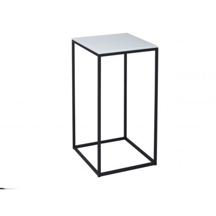 Square Lamp Stand - Kensal WHITE with BLACK base