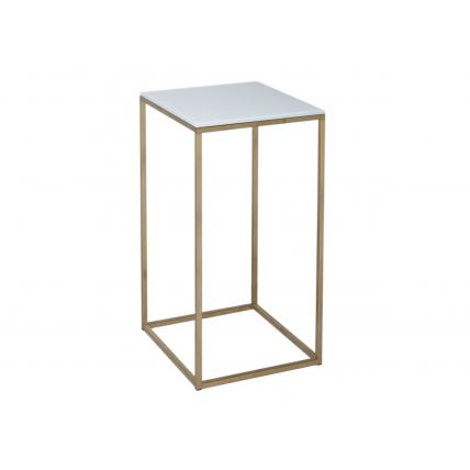 Square Lamp Stand - Kensal WHITE with BRASS base
