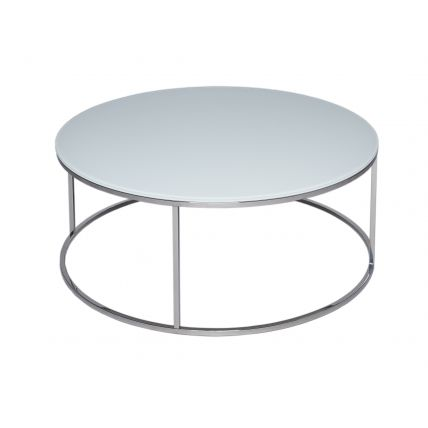 Circular Coffee Table - Kensal WHITE with POLISHED steel base