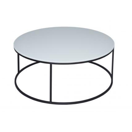 Circular Coffee Table - Kensal WHITE with BLACK base