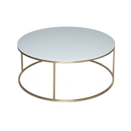 Circular Coffee Table - Kensal WHITE with BRASS base