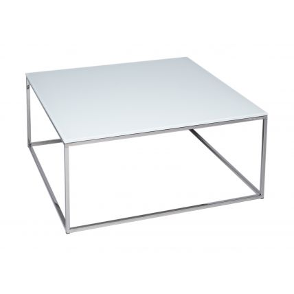 Square Coffee Table - Kensal WHITE with POLISHED steel base