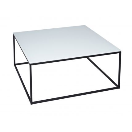 Square Coffee Table - Kensal WHITE with BLACK base